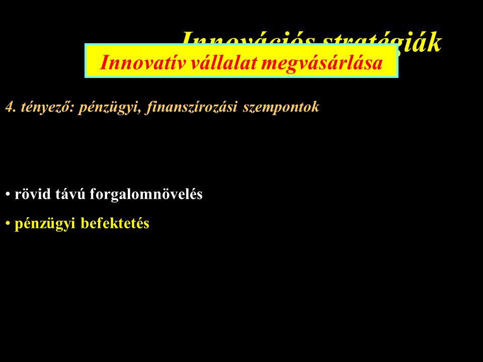 Innovációs stratégiák Innovatív vállalat megvásárlása 4.
