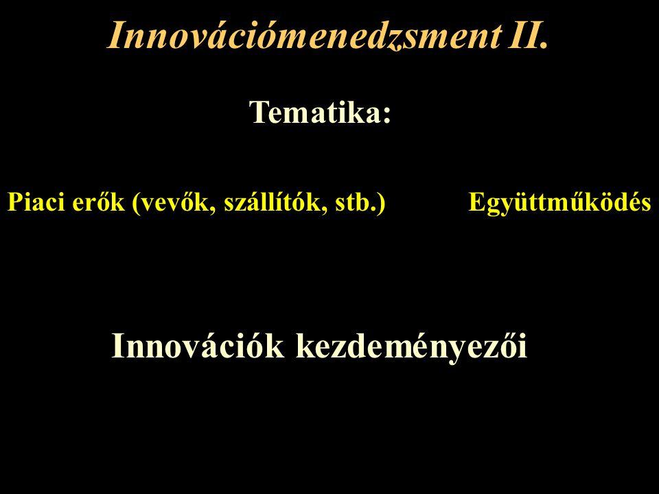 Innovációmenedzsment II. Tematika: ProblémadefiniálásCélképzés Alternatív megoldások keresése