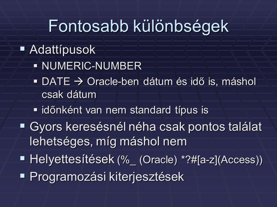 Fontosabb különbségek  Adattípusok  NUMERIC-NUMBER  DATE  Oracle-ben dátum és idő is, máshol csak dátum  időnként van nem standard típus is  Gyors keresésnél néha csak pontos találat lehetséges, míg máshol nem  Helyettesítések (%_ (Oracle) * #[a-z](Access))  Programozási kiterjesztések
