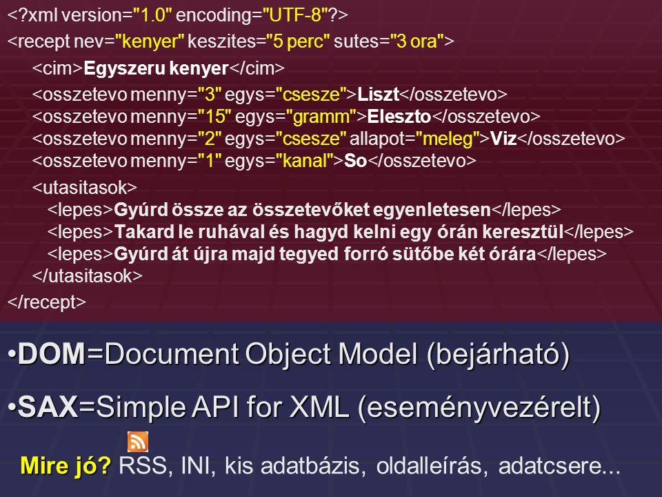 Egyszeru kenyer Liszt Eleszto Viz So Gyúrd össze az összetevőket egyenletesen Takard le ruhával és hagyd kelni egy órán keresztül Gyúrd át újra majd tegyed forró sütőbe két órára DOM=Document Object Model (bejárható)DOM=Document Object Model (bejárható) SAX=Simple API for XML (eseményvezérelt)SAX=Simple API for XML (eseményvezérelt) Mire jó.