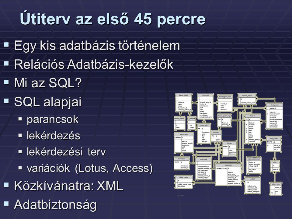 Útiterv az első 45 percre  Egy kis adatbázis történelem  Relációs Adatbázis-kezelők  Mi az SQL.