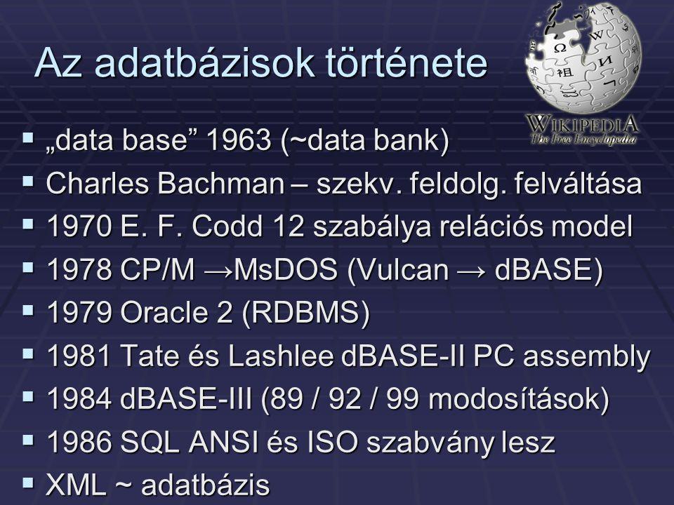 """Az adatbázisok története  """"data base 1963 (~data bank)  Charles Bachman – szekv."""
