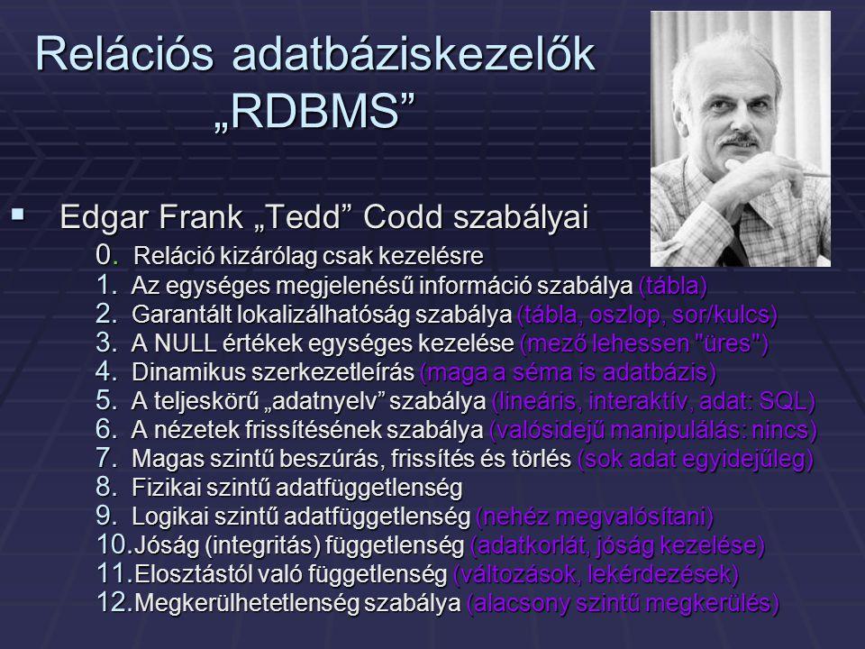 """Relációs adatbáziskezelők """"RDBMS  Edgar Frank """"Tedd Codd szabályai 0."""