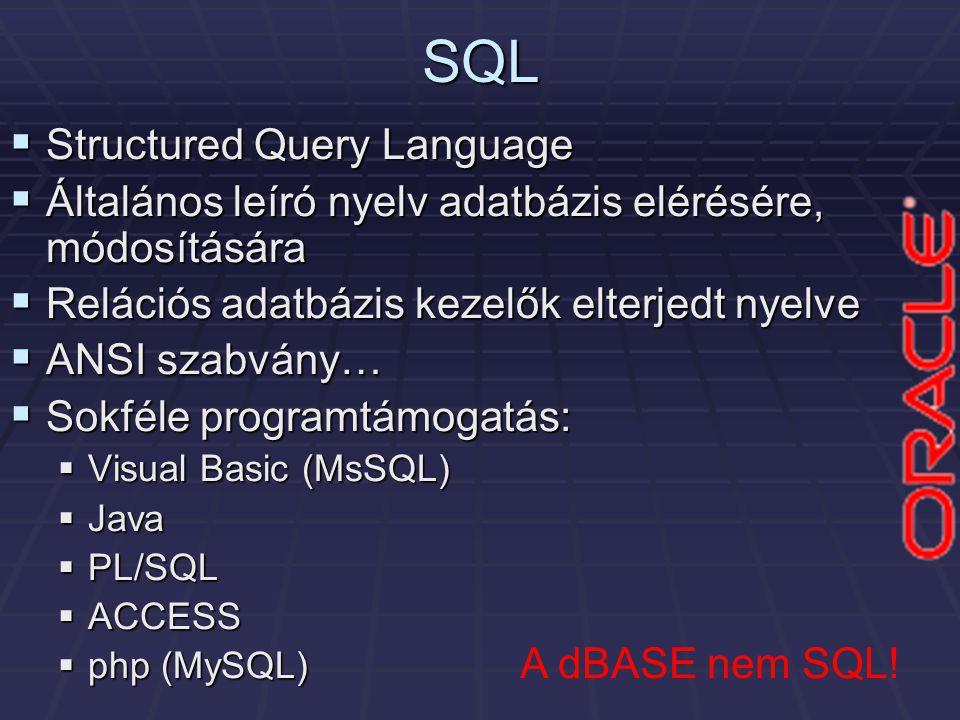 SQL  Structured Query Language  Általános leíró nyelv adatbázis elérésére, módosítására  Relációs adatbázis kezelők elterjedt nyelve  ANSI szabvány…  Sokféle programtámogatás:  Visual Basic (MsSQL)  Java  PL/SQL  ACCESS  php (MySQL) A dBASE nem SQL!