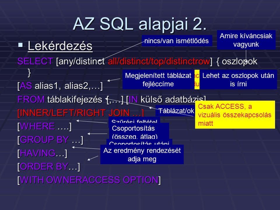 AZ SQL alapjai 2.