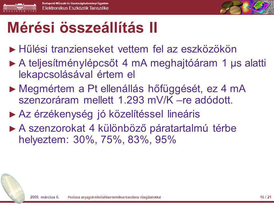 Budapesti Műszaki és Gazdaságtudományi Egyetem Elektronikus Eszközök Tanszéke 2009. március 6. Porózus anyagok minősítése termikus tranziens vizsgálat