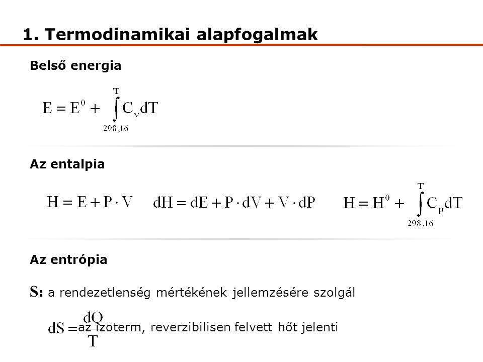 Belső energia Az entalpia Az entrópia S : a rendezetlenség mértékének jellemzésére szolgál az izoterm, reverzibilisen felvett hőt jelenti 1.