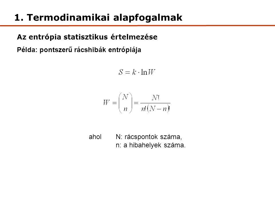 1. Termodinamikai alapfogalmak Szabadentalpia (G): az entalpia munkavégzésre alkalmas része