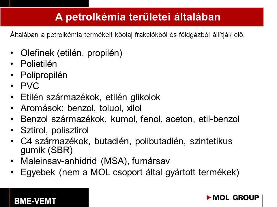 Általában a petrolkémia termékeit kőolaj frakciókból és földgázból állítják elő. Olefinek (etilén, propilén) Polietilén Polipropilén PVC Etilén szárma