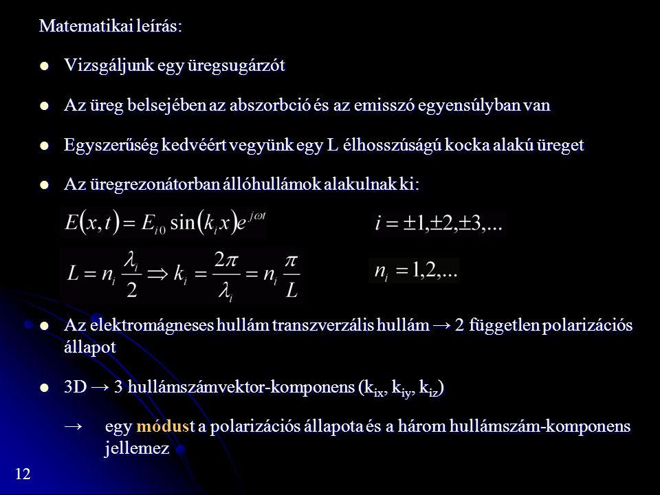 12 Matematikai leírás: Vizsgáljunk egy üregsugárzót Vizsgáljunk egy üregsugárzót Az üreg belsejében az abszorbció és az emisszó egyensúlyban van Az ür