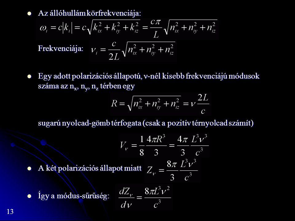 13 Az állóhullám körfrekvenciája: Az állóhullám körfrekvenciája:Frekvenciája: Egy adott polarizációs állapotú, ν-nél kisebb frekvenciájú módusok száma