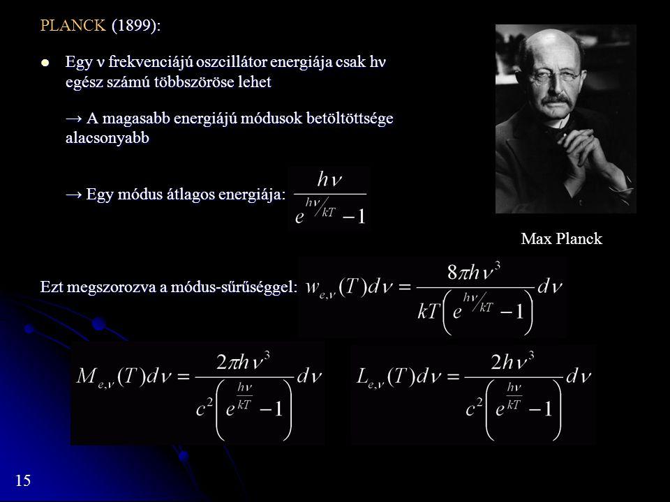 15 (1899): PLANCK (1899): Egy ν frekvenciájú oszcillátor energiája csak hν egész számú többszöröse lehet Egy ν frekvenciájú oszcillátor energiája csak
