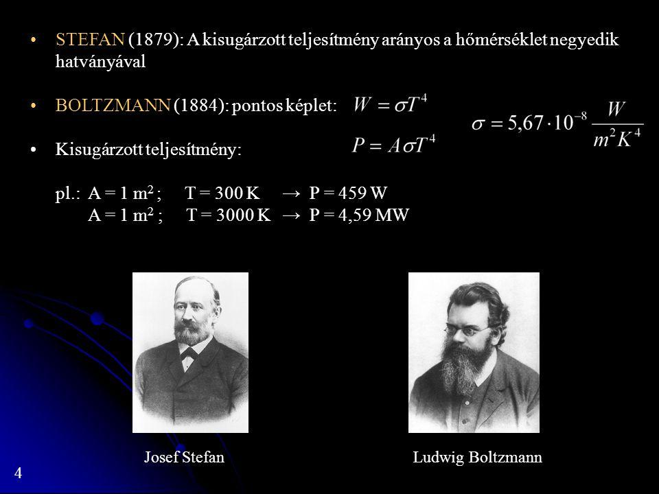 4 STEFAN (1879): A kisugárzott teljesítmény arányos a hőmérséklet negyedik hatványával BOLTZMANN (1884): pontos képlet: Kisugárzott teljesítmény: pl.: