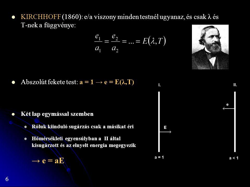 6 KIRCHHOFF (1860): e/a viszony minden testnél ugyanaz, és csak λ és T-nek a függvénye: Abszolút fekete test: a = 1 → e = E(λ,T) Két lap egymással sze