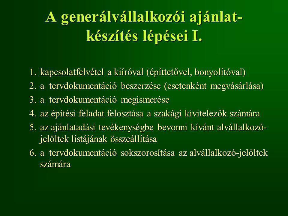 A generálvállalkozói ajánlat- készítés lépései II.