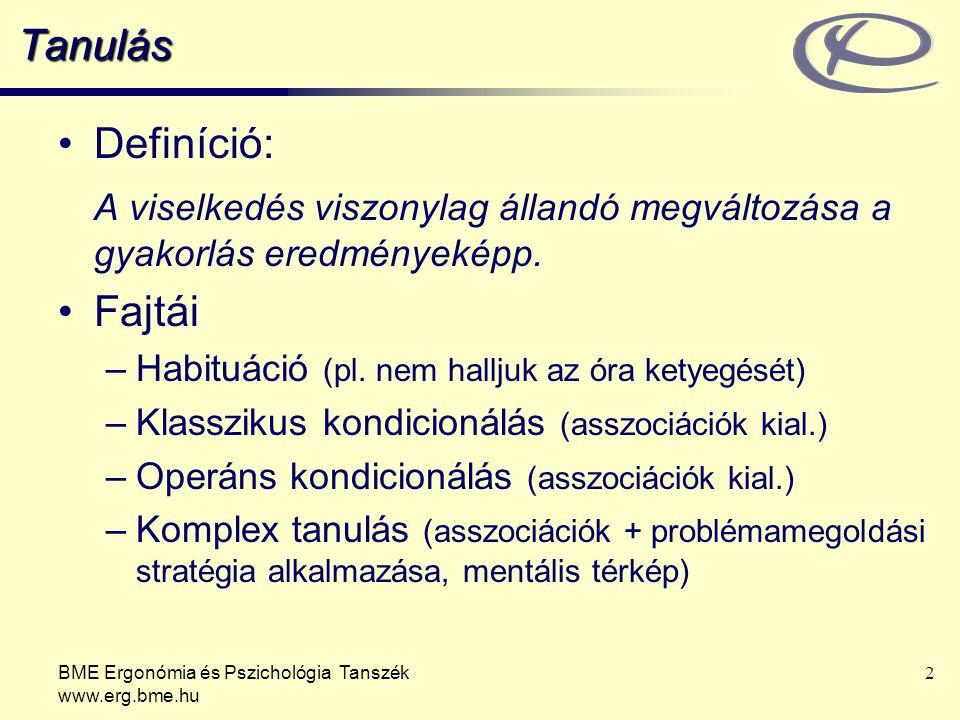 BME Ergonómia és Pszichológia Tanszék www.erg.bme.hu 23 Komplex tanulás Intelligencia kulcsa műveletek végrehajtása mentális reprezentációkon.