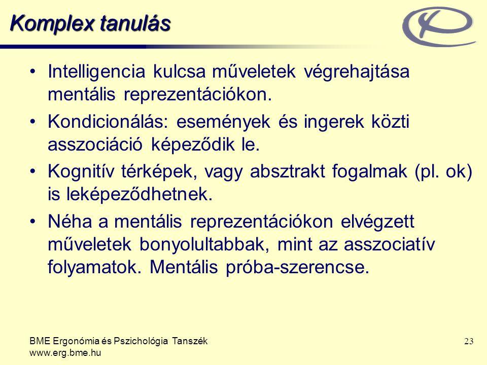 BME Ergonómia és Pszichológia Tanszék www.erg.bme.hu 23 Komplex tanulás Intelligencia kulcsa műveletek végrehajtása mentális reprezentációkon. Kondici