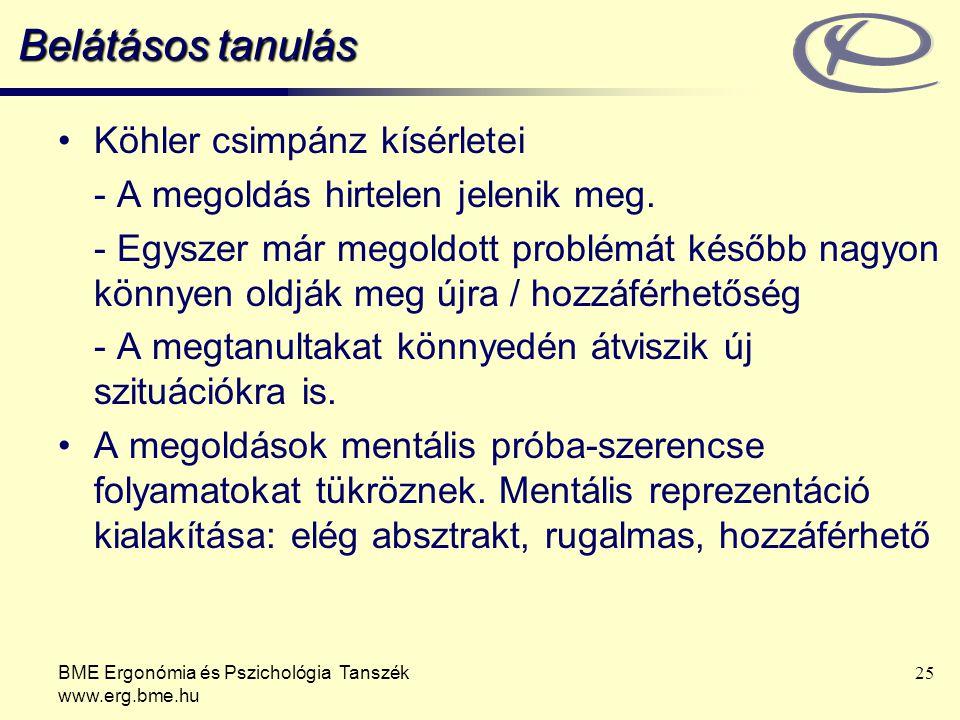 BME Ergonómia és Pszichológia Tanszék www.erg.bme.hu 25 Belátásos tanulás Köhler csimpánz kísérletei - A megoldás hirtelen jelenik meg. - Egyszer már