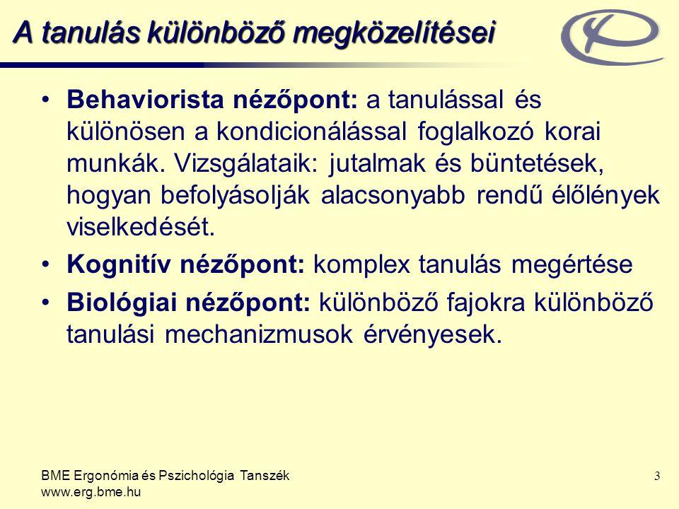 BME Ergonómia és Pszichológia Tanszék www.erg.bme.hu 3 A tanulás különböző megközelítései Behaviorista nézőpont: a tanulással és különösen a kondicion