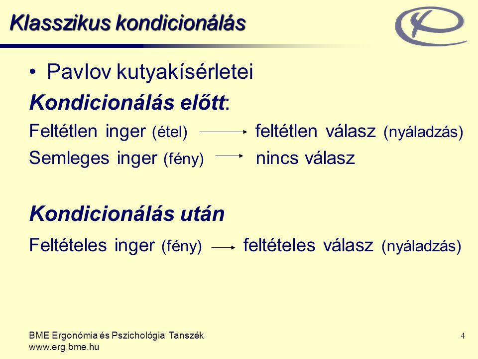 BME Ergonómia és Pszichológia Tanszék www.erg.bme.hu 5 Klasszikus kondicionálás Fogalmak –Próba: feltételes és feltétlen inger minden párosítása –Tanulási fázis: azok a próbák, amelyekben megtanulja a vizsgálati személy a két inger közti kapcsolatot –Megerősítés: ismételt párosítás –Kioltás: ha a feltételes válasz nem erősítődik meg Klasszikus kondicionálás: előrejelzések megtanulása arról, hogy mi következik Példák