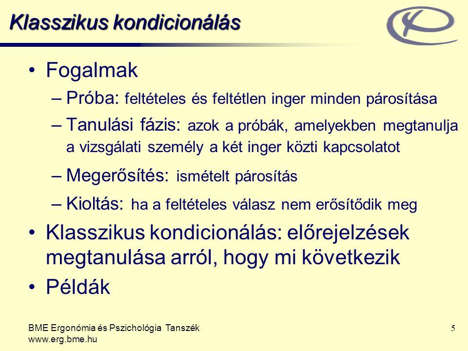 BME Ergonómia és Pszichológia Tanszék www.erg.bme.hu 5 Klasszikus kondicionálás Fogalmak –Próba: feltételes és feltétlen inger minden párosítása –Tanu