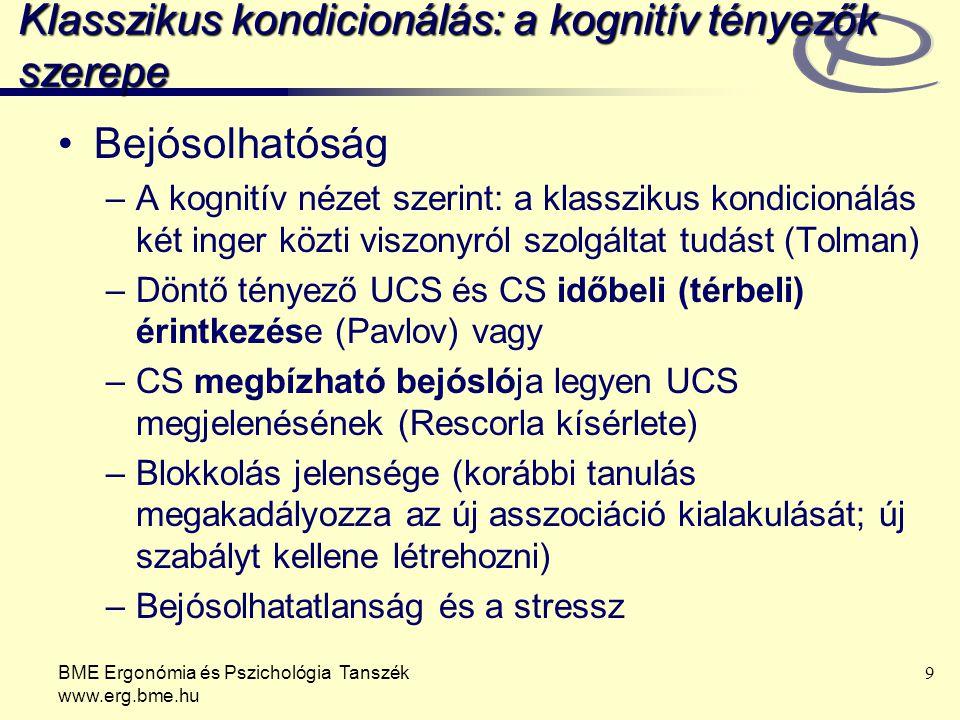 BME Ergonómia és Pszichológia Tanszék www.erg.bme.hu 9 Klasszikus kondicionálás: a kognitív tényezők szerepe Bejósolhatóság –A kognitív nézet szerint:
