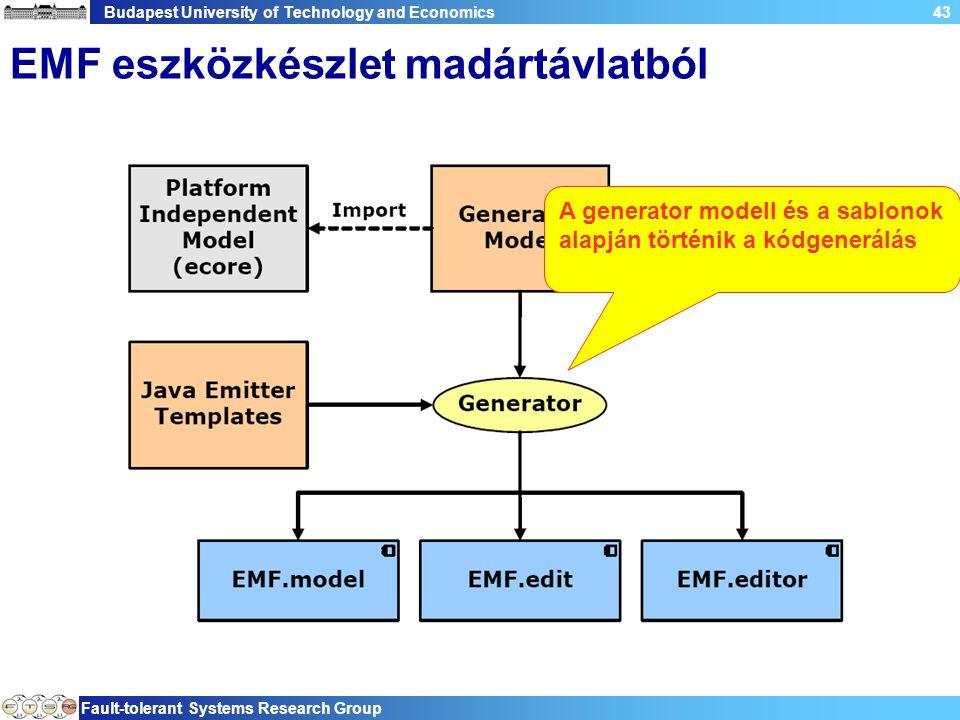 Budapest University of Technology and Economics Fault-tolerant Systems Research Group 43 EMF eszközkészlet madártávlatból A generator modell és a sablonok alapján történik a kódgenerálás