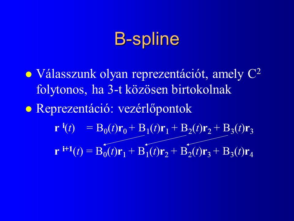 B-spline l Válasszunk olyan reprezentációt, amely C 2 folytonos, ha 3-t közösen birtokolnak l Reprezentáció: vezérlőpontok r i (t) = B 0 (t)r 0 + B 1