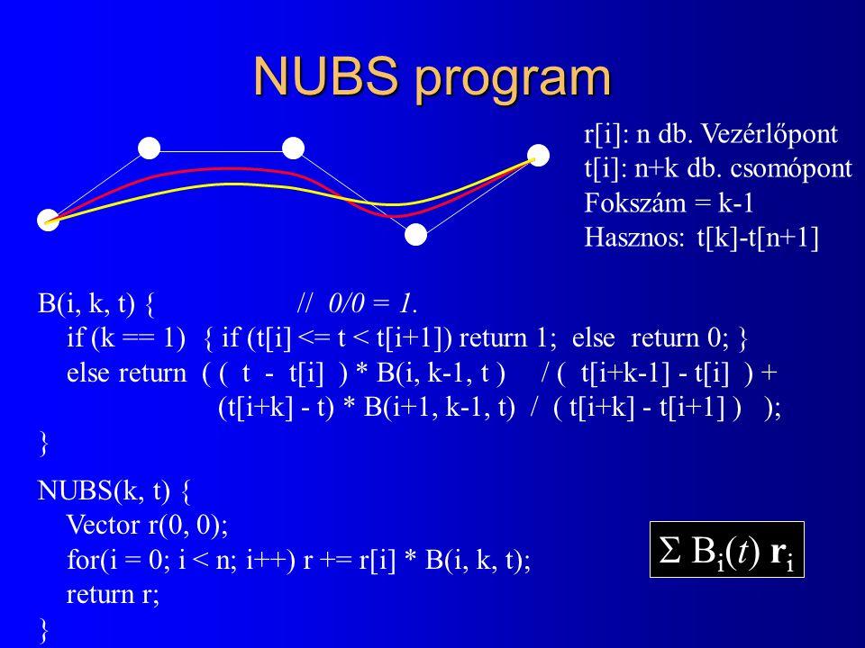 NUBS program B(i, k, t) {// 0/0 = 1. if (k == 1) { if (t[i] <= t < t[i+1]) return 1; else return 0; } else return ( ( t - t[i] ) * B(i, k-1, t ) / ( t