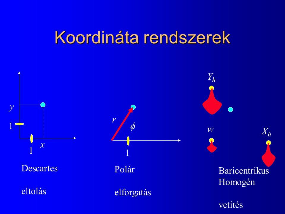 Koordináta rendszerek x y r  XhXh YhYh w Descartes eltolás Polár elforgatás Baricentrikus Homogén vetítés 1 1 1