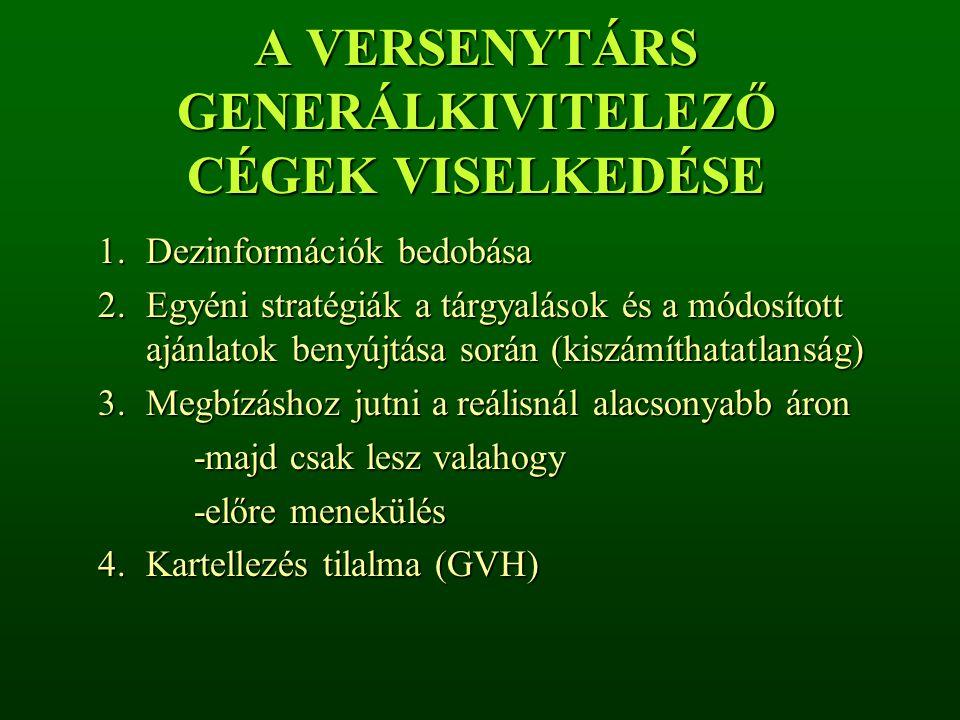 A VERSENYTÁRS GENERÁLKIVITELEZŐ CÉGEK VISELKEDÉSE 1.Dezinformációk bedobása 2.Egyéni stratégiák a tárgyalások és a módosított ajánlatok benyújtása sor