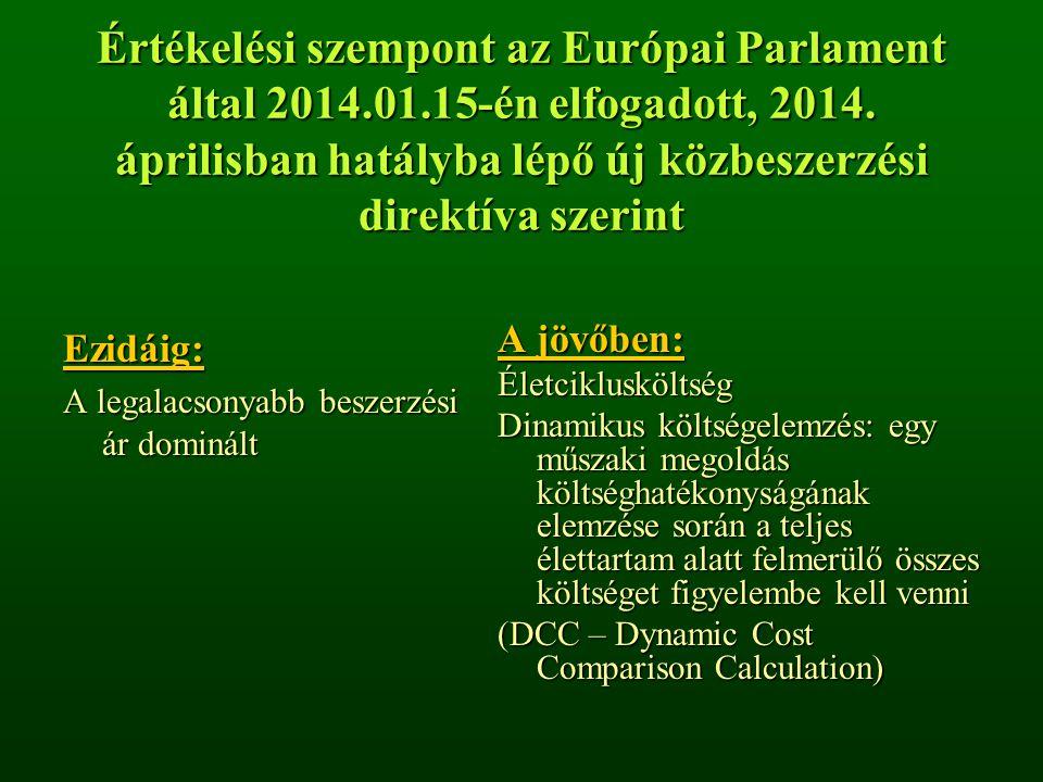 Értékelési szempont az Európai Parlament által 2014.01.15-én elfogadott, 2014. áprilisban hatályba lépő új közbeszerzési direktíva szerint Ezidáig: A