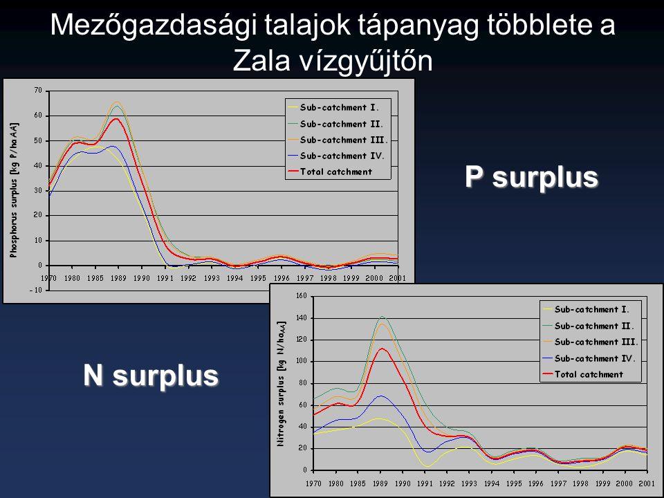 Mezőgazdasági talajok tápanyag többlete a Zala vízgyűjtőn P surplus N surplus