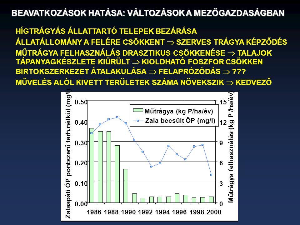 BEAVATKOZÁSOK HATÁSA: VÁLTOZÁSOK A MEZŐGAZDASÁGBAN 0.00 0.10 0.20 0.30 0.40 0.50 19861988199019921994199619982000 Zalaapáti ÖP pontszerű terh.nélkül (mg/l) 0 3 6 9 12 15 Műtrágya felhasználás (kg P /ha/év) Műtrágya (kg P/ha/év) Zala becsült ÖP (mg/l) HÍGTRÁGYÁS ÁLLATTARTÓ TELEPEK BEZÁRÁSA ÁLLATÁLLOMÁNY A FELÉRE CSÖKKENT  SZERVES TRÁGYA KÉPZŐDÉS MŰTRÁGYA FELHASZNÁLÁS DRASZTIKUS CSÖKKENÉSE  TALAJOK TÁPANYAGKÉSZLETE KIÜRÜLT  KIOLDHATÓ FOSZFOR CSÖKKEN BIRTOKSZERKEZET ÁTALAKULÁSA  FELAPRÓZÓDÁS  ??.
