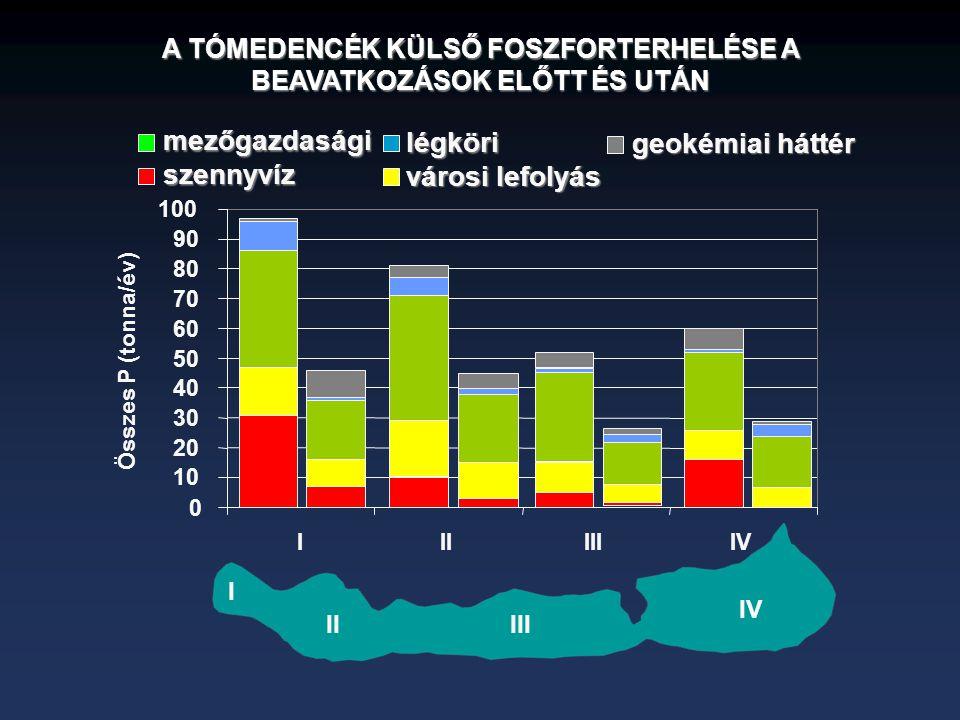 0 10 20 30 40 50 60 70 80 90 100 IIIIIIIV Összes P (tonna/év) I IIIII IVszennyvíz városi lefolyás mezőgazdasági légköri geokémiai háttér A TÓMEDENCÉK KÜLSŐ FOSZFORTERHELÉSE A BEAVATKOZÁSOK ELŐTT ÉS UTÁN