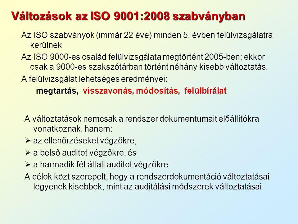 Mit módosítottak az ISO 9000:2000-hez képest.
