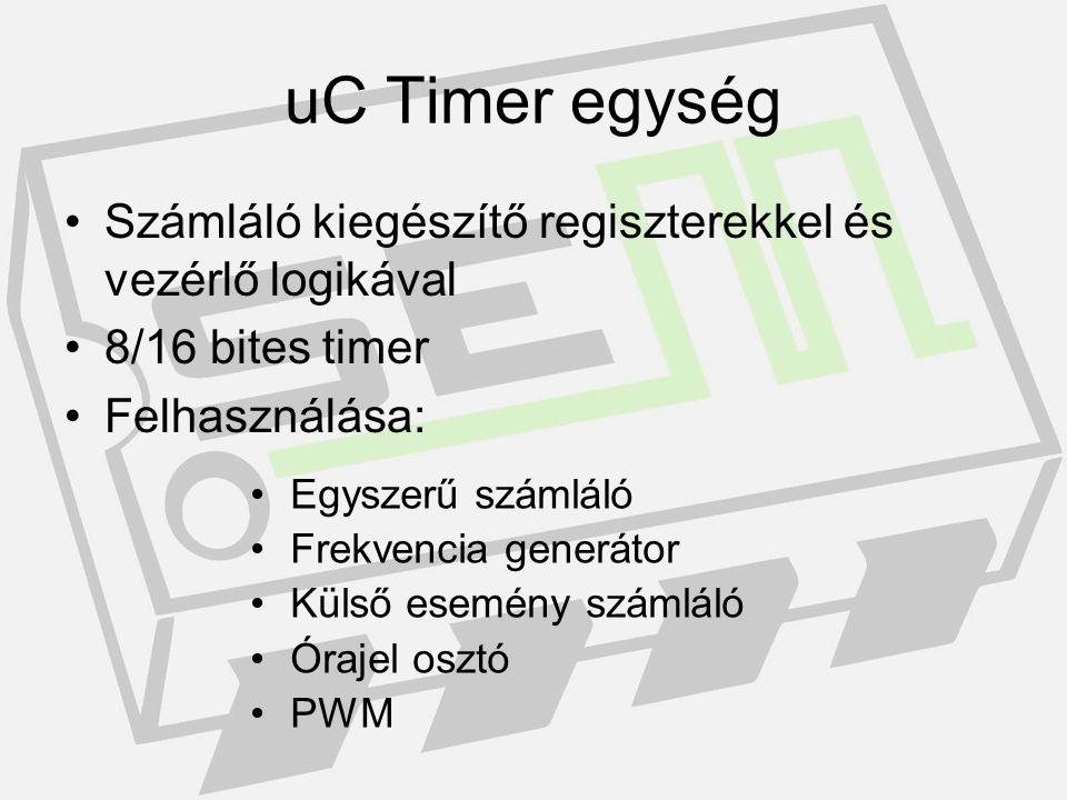 uC timer egység config Clk prescaler Interrupt flags: TIMSK, TIFR Control registers: TCCR1A, TCCR1B, TCCR2 Special function register: SFIOR