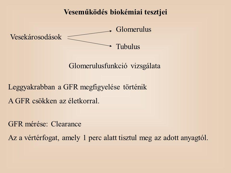 Veseműködés biokémiai tesztjei Vesekárosodások Glomerulus Tubulus Glomerulusfunkció vizsgálata Leggyakrabban a GFR megfigyelése történik A GFR csökken