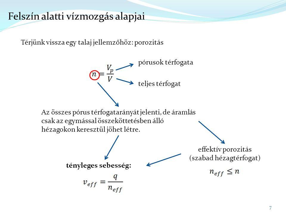 8 Felszín alatti vízmozgás alapjai Egy példa:  legyen két kutunk (az egyik egy szennyező forrásnál mélyített figyelő kút, a másik egy ásott kút, amiből időnként isznak), amikben ismert a talajvízszint (ez lehet pillanatnyi vízszint, de akár egy választott időszak átlaga is)  legyen ismert a két kút közötti távolság, a talaj K tényezője és effektív porozitása  kérdés: mennyi idő alatt ér el egy szennyező részecske a forrástól a talajvíz kútig.