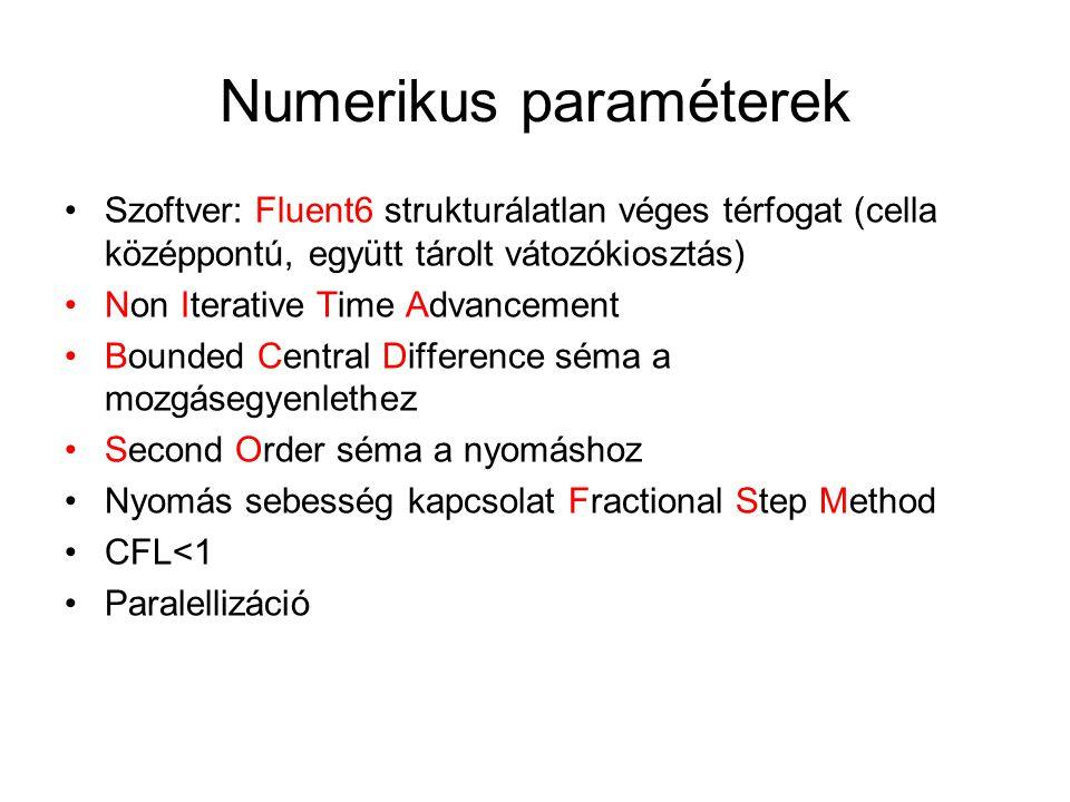 Numerikus paraméterek Szoftver: Fluent6 strukturálatlan véges térfogat (cella középpontú, együtt tárolt vátozókiosztás) Non Iterative Time Advancement