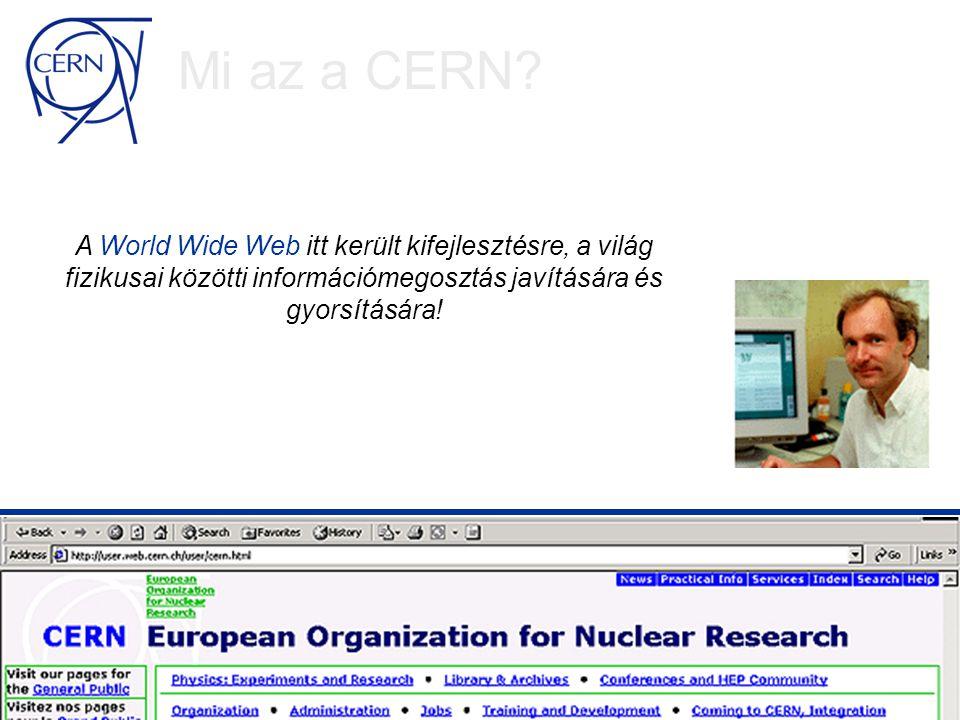 Számítástechnika CERN-ben Magas-áteresztőképességű számítástechnika, a megbízható commodity technológián alapulva Több mint 1000 dupla processzorú PC Több mint 1 Petabyte adat lemezen és szalagokon Távolról sem elegendő!