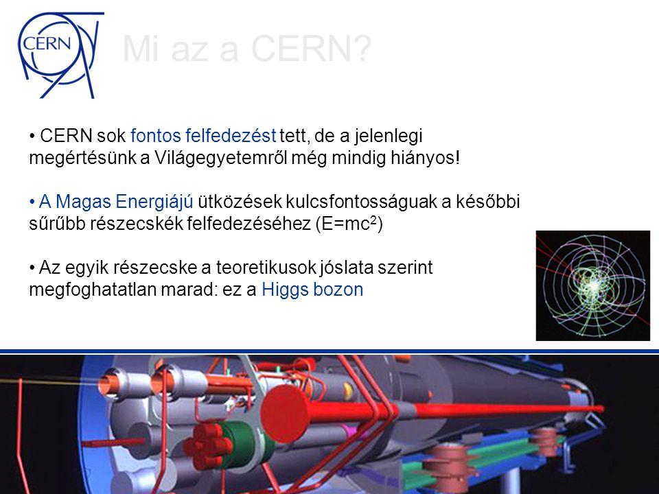 Hogy megválaszoljuk a még mindig nyitva álló kérdéseket, CERN megépíti a Large Hadron Collider-t (LHC) Az LHC lesz a legerőteljesebb berendezés ami valaha épült az elemi részecskék tanulmányozására Ha a Higgs bozon létezik, az LHC valószínűleg meg fogja találni Mi az a CERN?