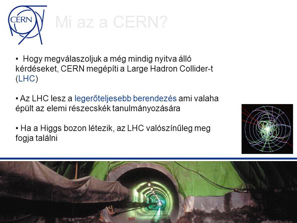 LHC Computing Grid (LCG) Részt vevők: Több mint 150 fizikus, számítástechnikai tudós és mérnök a partner kutatóintézetekből a világ minden tájáról Idővonal: 2002: kezdő projekt 2003: a szolgáltatás megkezdődik (Sept) 2002 - 2005: az LHC számítástechnikai környezetének előkészítése és felvonultatása 2006 – 2008: az LHC számítástechnikai kiszolgálás beszerzése, felépítése és működtetése