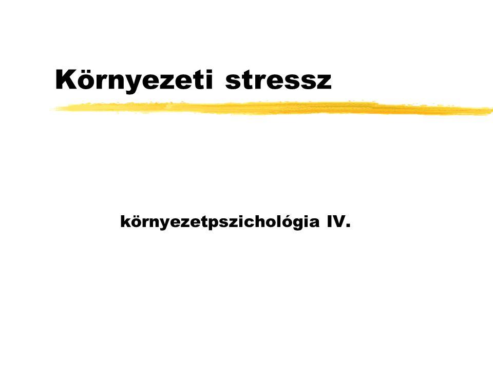 A stressz fogalma zstresszor (ok)  stressz (okozat) zSelye János: GAS, általános testi válasz a testet ért káros hatásokra za reakció a hatás forrásától függetlenül mindig ugyanúgy játszódik le (nem fajlagos hatás): xagyi indítás (hipotalamusz) xhormonális szabályozás (mellékvesék, kortizol) xjárulékos hatások: növekedési hormon, adnokortikotrp hormon (ACTH), gonadotrop hormonok zmindig fokozott arousallal jár zelhúzódása maradandó váltpzásokkal jár: hipotalamusz megnő, a pajzsmirigy és a mellékveség zsugorodnak, fekélyek az emésztőrendszerben