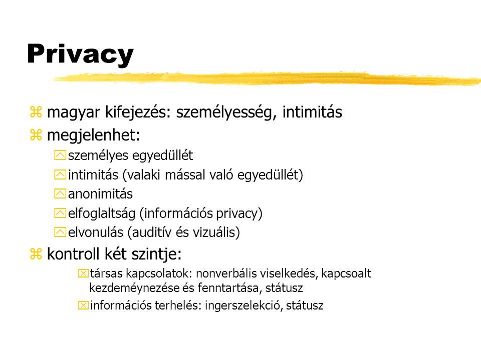 Privacy zmagyar kifejezés: személyesség, intimitás zmegjelenhet: yszemélyes egyedüllét yintimitás (valaki mással való egyedüllét) yanonimitás yelfogla
