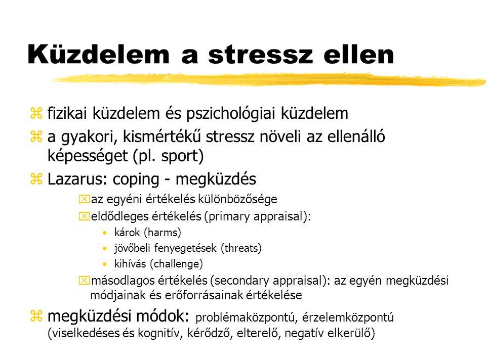 Küzdelem a stressz ellen zválaszok: xpszichológiai (arousal) xkognitív: hiedelmek, perszeveráló gondolatok, koncentrációs nehézségek, teljesítmény problémák za stresszorok jellemzői: xa negatív események intenzívebben hatnak, mint a pozitívak xa befolyásolhatatlanság intenzívebb xa bejósolhatatlanság intenzívebb xa kétértelmű események hatása erősebb za környezeti stressz típusai: xakut (pl.