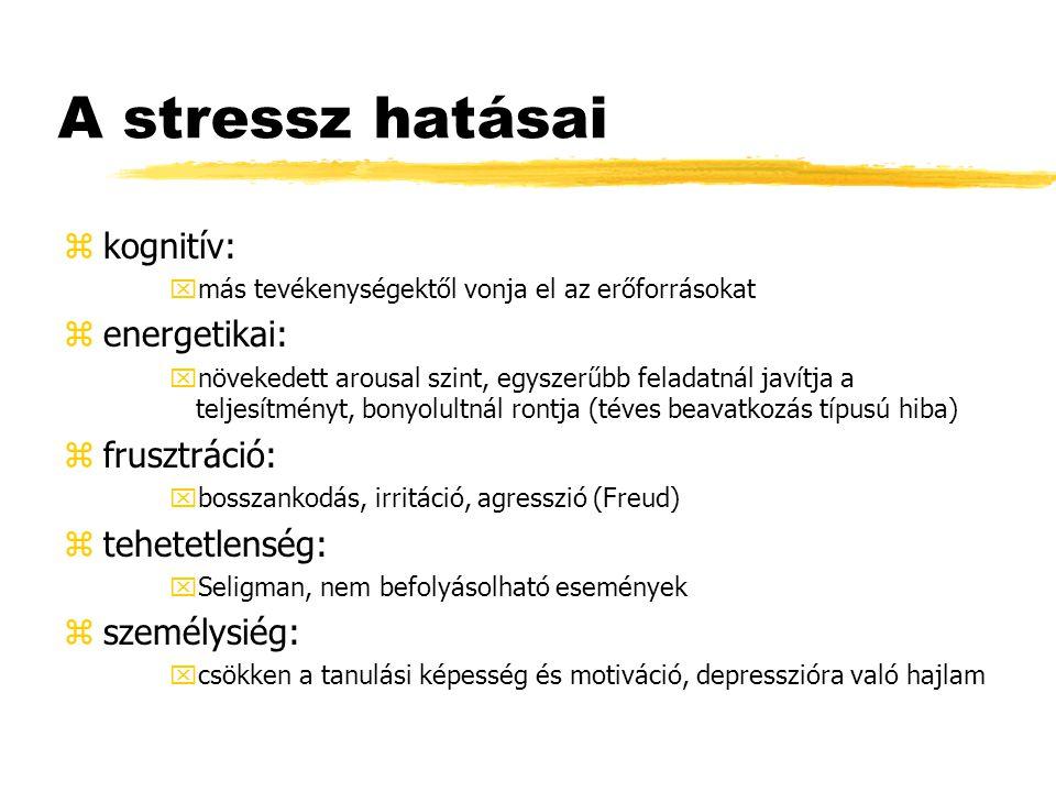 A stressz hatásai zkognitív: xmás tevékenységektől vonja el az erőforrásokat zenergetikai: xnövekedett arousal szint, egyszerűbb feladatnál javítja a