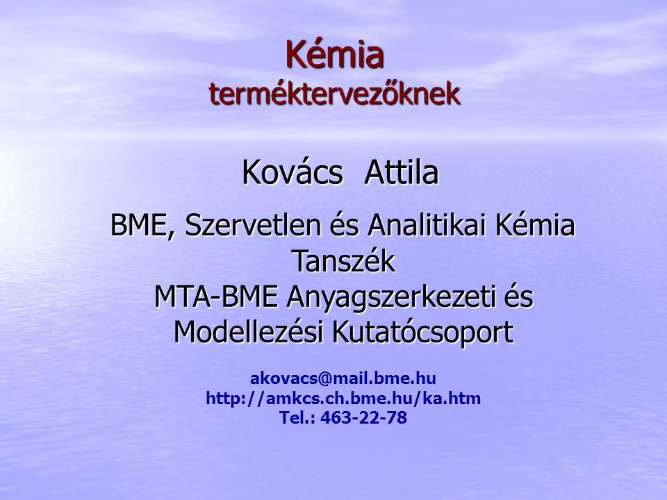 Kovács Attila Kémiaterméktervezőknek BME, Szervetlen és Analitikai Kémia Tanszék MTA-BME Anyagszerkezeti és Modellezési Kutatócsoport akovacs@mail.bme.hu http://amkcs.ch.bme.hu/ka.htm Tel.: 463-22-78