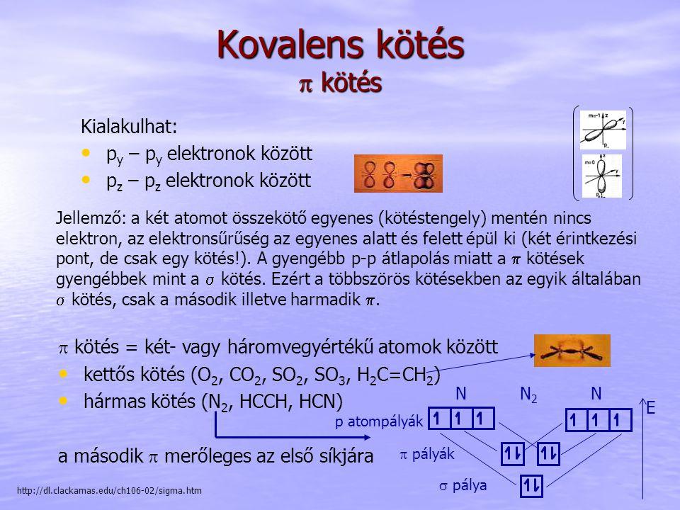 Kovalens kötés  kötés Jellemző: a két atomot összekötő egyenes (kötéstengely) mentén nincs elektron, az elektronsűrűség az egyenes alatt és felett épül ki (két érintkezési pont, de csak egy kötés!).