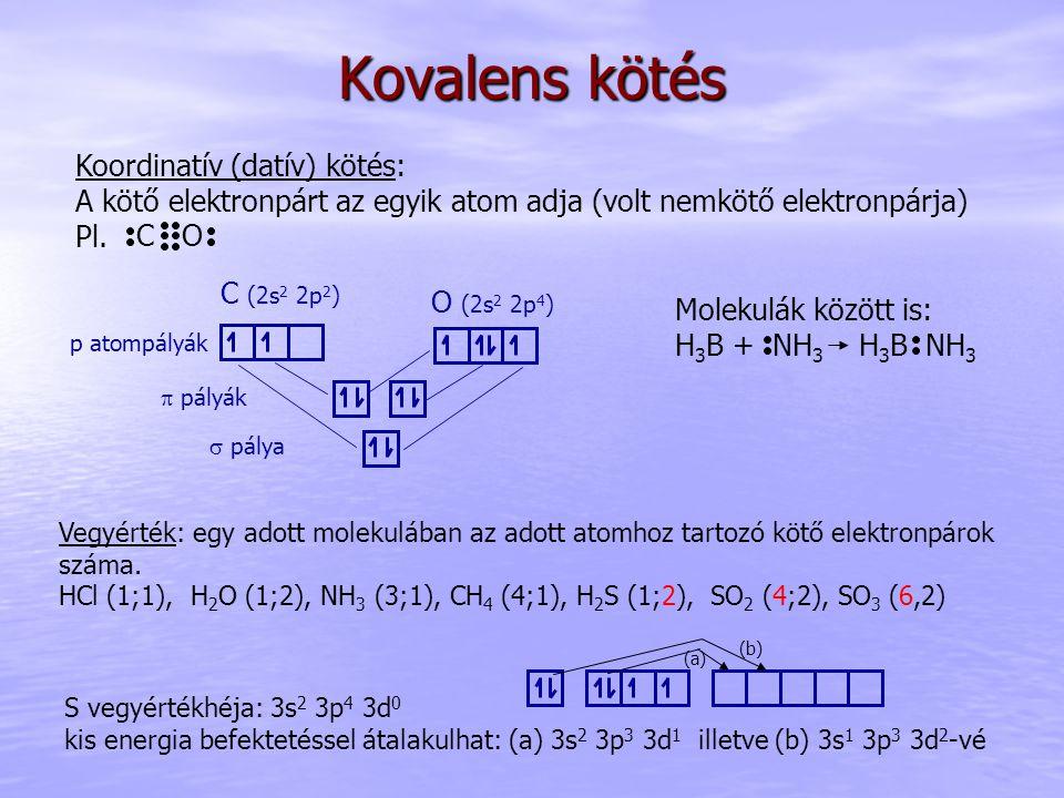 Kovalens kötés Koordinatív (datív) kötés: A kötő elektronpárt az egyik atom adja (volt nemkötő elektronpárja) Pl. p atompályák  pálya  pályák C O C